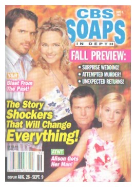 Front cover Of CBS Soaps In Depth, display from August 26 through September 9, 2003. Top: Young & Restless' Joshua Morrow (Nick) and Sharon Case (Sharon). Bottom: Bailey Chase (Chris) and Jessica Dunphy.