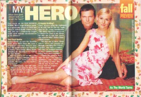 Inside story from CBS Soaps In Depth, display from August 26 through September 9, 2003. Bailey Chase (Chris) and Jessica Dunphy.