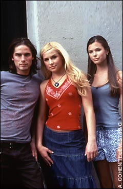Left to right: Agim Kaba (Aaron), Jessica Dunphy, and Peyton List (Lucy)