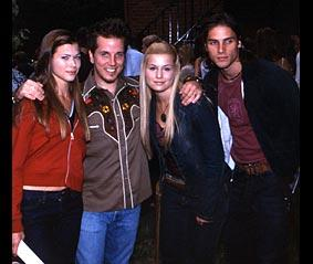 Left to right: Peyton List (Lucy), some guy, Jessica Dunphy, and Agim Kaba (Aaron)