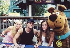 Left to right: Jessica Dunphy, Agim Kaba (Aaron), Peyton List (Lucy), and Scooby Doo!