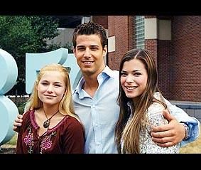 Left to right: Jessica Dunphy, a college guy, and Peyton List (Lucy)